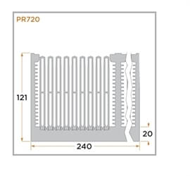 view of a diagram of a PR720 heat sink for forced convention.