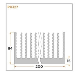 view of a diagram of a PR327 heat sink for forced convention.