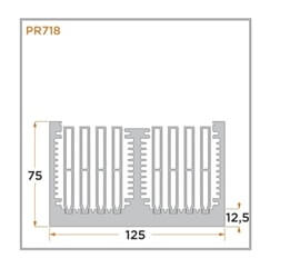 view of a diagram of a PR718 heat sink for forced convention.