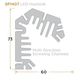 diagram of a custom LED heatsink.