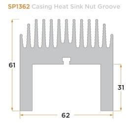 diagram of a custom casing heat sink nut groove.
