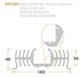 diagram of a custom heat sink for an audio system.