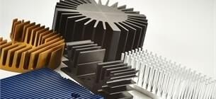 view of different types of heat sinks on a white background